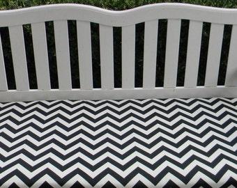 Indoor / Outdoor Foam Swing / Bench Cushion - Black & Ivory Zig Zag / Chevron Pattern - Choose Size