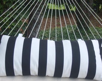 Outdoor Fabric Hammock Pillow with Velco fasteners - Black & White Stripe -Soft and Comfy