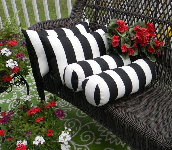 Black And White Stripe Outdoor Throw Pillows : Set of 4 Black White Stripe Rectangle & Neckroll Bolster