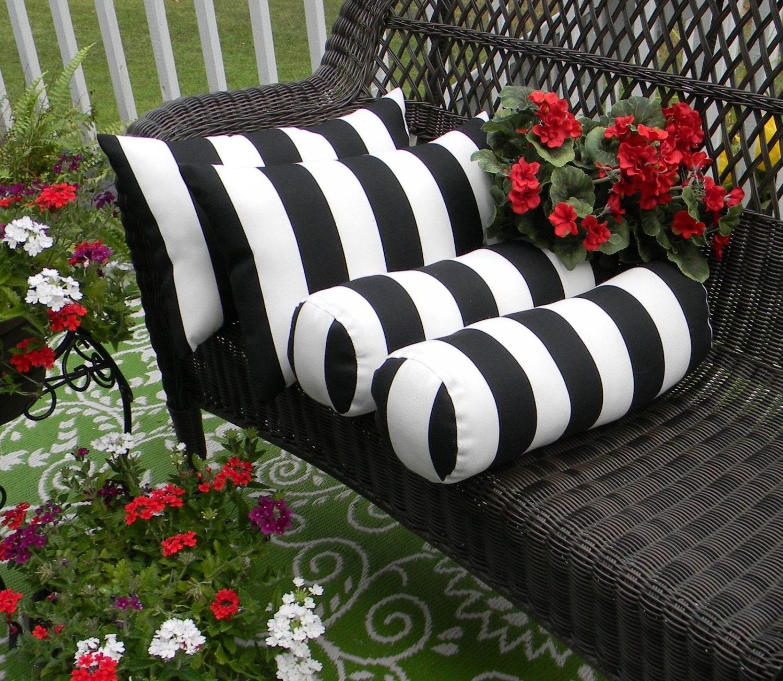 White Neckroll Decorative Pillow : Set of 4 Black White Stripe Rectangle & Neckroll Bolster