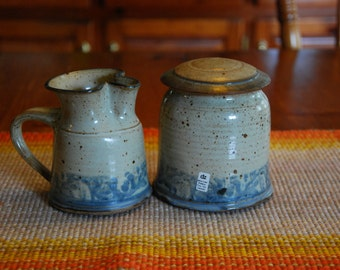 Pottery Cream and Sugar Bowl