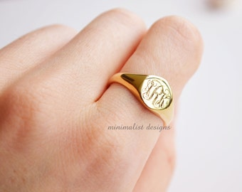 Sterling Silver, Gold Signet Ring, gold, Monogram, Gold signet, Engraved Ring, Bridesmaids Ring