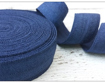 5/8 NAVY Fold Over Elastic 5 or 10 YARDS