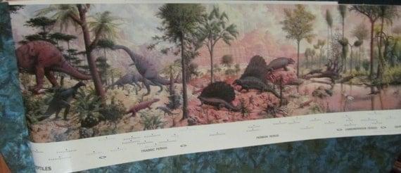 1985 reprint of rudolph zallinger 39 s famous dinosaur mural for Age of reptiles mural