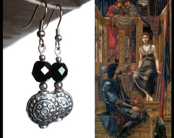 BURNE-JONES - Black crystal dangling earrings, handmade