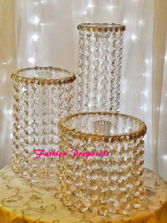 waterfall crystal wedding cake stand