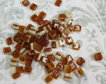 25 Caramel and Cream Glass Square Lentil Beads - Item 724