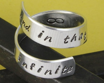SALE - And In That Moment We Were Infinite Wrap Twist Ring - Couples Gift - Adjustable Aluminum Ring - Hand Stamped - Mother's Day