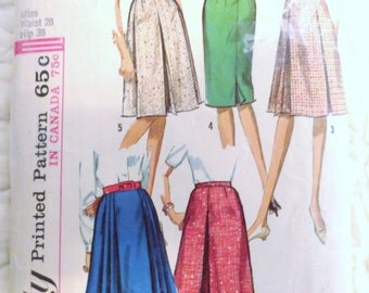 1965 Skirt Uncut Pattern S SIMPLICITY 5884 Five Versions Inverted Pleats Box Pleats Topstitched Pleats Unused