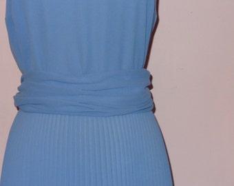 Vtg 70s Miss Elliette Periwinkle Blue Secretary Party Dress L