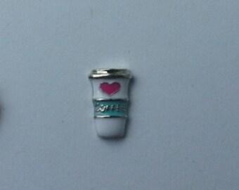 Coffee Cup Aqua White floating charm  Floating Charm for Glass Memory Lockets - Living Life Lockets ANC36