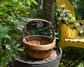 Vintage Heavy Duty Wood Trimmed Wicker Basket~Wicker Basket~Weave Basket~Rustic Basket~ Country House Décor~Picnic Basket~TVAT