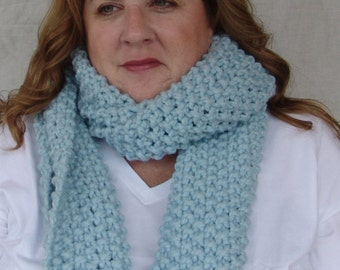 READY TO SHIP: Hand Knit Chunky Extra Long Scarf in Glacier Blue