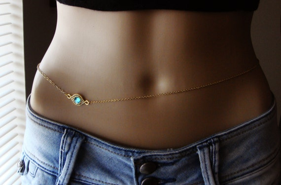 Gold plated belly chain body jewelry waist chain gold for Necklace belly chain jewelry