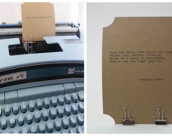 LEONARD COHEN Quote Card-- Made on Vintage Typewriter-- Inspirational Poetry Letterpress Typography Music