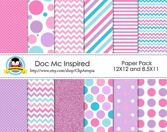 Doc Mc Inspired Digital Paper Pack, Pink, Purple, Blue Digital Paper 12 x 12 and 11 x 8.5 inches for personal and commercial use