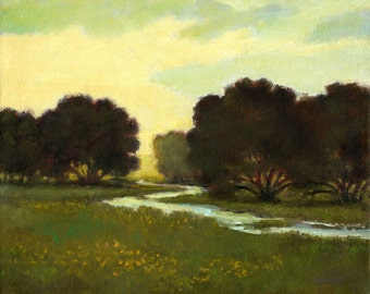 Canvas print landscape large, river, morning light, stream, meadow, country scenic, field and tree, dark green, yellow wildflowers, painting