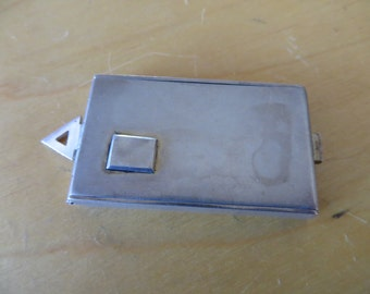 Unusual Antique Silver Watch Fob Stamp Box