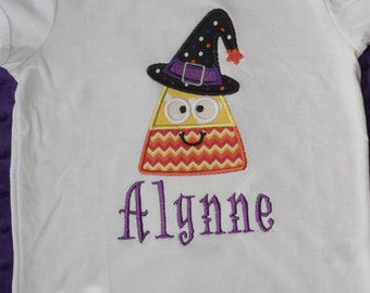 Candy Corn Witch Appliqued Shirt