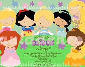 Princess Invitation Disney -Digital File -  Free thank you card - 5x7 or 4x6