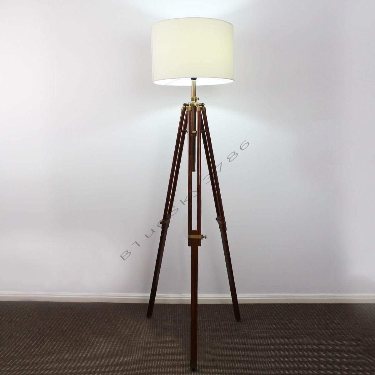 Teak timber nautical tripod floor lamp wood by bluesky3786 for Wooden floor lamp etsy