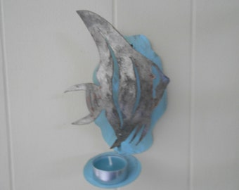 Painted fish candle holder