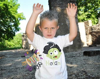 Custom Boys Halloween Frankenstein Zombie T-Shirt - Personalized - Applique Shirt - Toddler - Youth - Spooky Embroidered Shirt