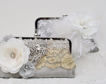 Downton Abbey / Bridal Handbag /  Silver Wedding / Marie Antoinette