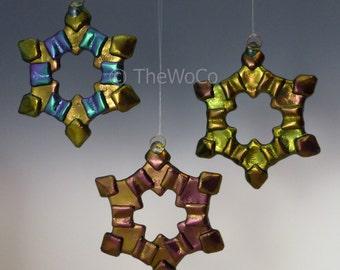 MERRY Warm Tones Black Iridized Snowflake, Fused Glass Ornament Suncatcher