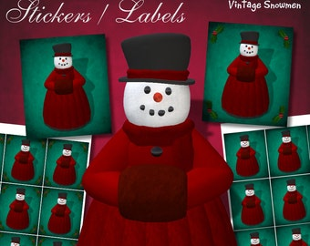 Vintage Snowmen Lady Frost Stickers - Digital Download