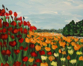 wildflower painting Floral landscape with red orange yellow flowers - Acrylic Painting on 4x4 canvas