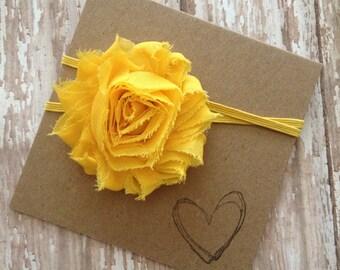 Yellow Shabby Flower Headband, Yellow Headband, Yellow Flower, Baby Headband, Newborn
