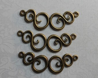 "Vintage gold plated solid swirl design connectors,2""x5/8th"",3pcs-KC142"