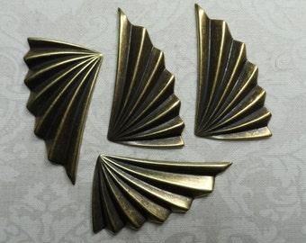 "Vintage gold plate brass fans,1&1/2""x3/4"",4pcsKC307"