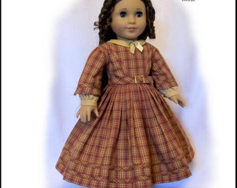 Pixie Faire Thimbles and Acorns 1860 Civil War Dress Doll Clothes Pattern for 18 inch American Girl Dolls - PDF