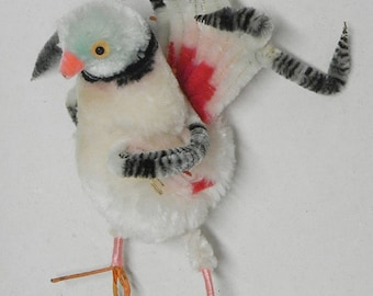 Vintage chenille pipe cleaner bird