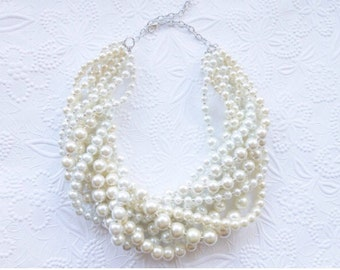 Chunky Pearl Necklace, Pearl Statement Necklace, Pearl Necklace, Multi Strand Pearl Necklace
