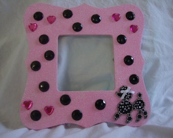 Handmade Poodle  Pink Picture Frame.