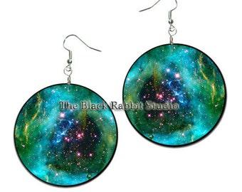 Orion - handmade earrings - decoupage, ORION NEBULA EARRINGS Astronomy Jewelry Orion Earrings