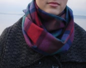 Lightweight wool plaid infinity scarf. Steel blue and soft reds.