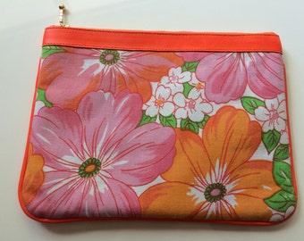 Floral Vintage Fabric, Fluro Orange leather trim purse>>clutch>evening bag>wedding>beach.boho>trends>fun>fashionable>>Original By Cinta Kamu
