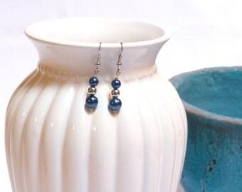 Patriotic Blue / Bright Silver Dangle Earrings