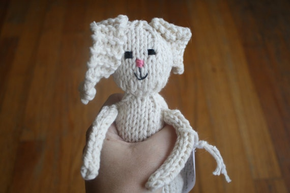 Ready to Ship Hand Knit Cotton Stuffed Bunny Rabbit Rattle in Ecru for Easter
