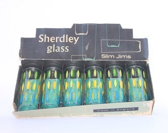 Retro mid century glassware Alexander Hardie Williamson, boxed set of Slim Jims from the 1960s