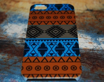 Brown Blue Color Indian Tribal Print Case For iPhone 6 / (4.7) / 4.7 / 5s / 5 / 4s / 4 Plastic Pattern Cover Aztec Cases Printed In USA c22