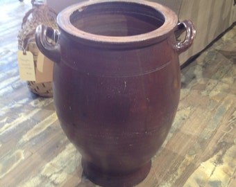Glazed Olive Pot with Handles
