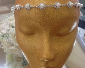 Crystal & Ivory Faux Pearl Brow Band