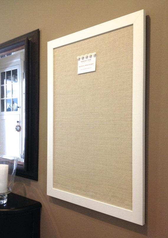 burlap bulletin board oversized framed magnetic board lt tan burlap office decor