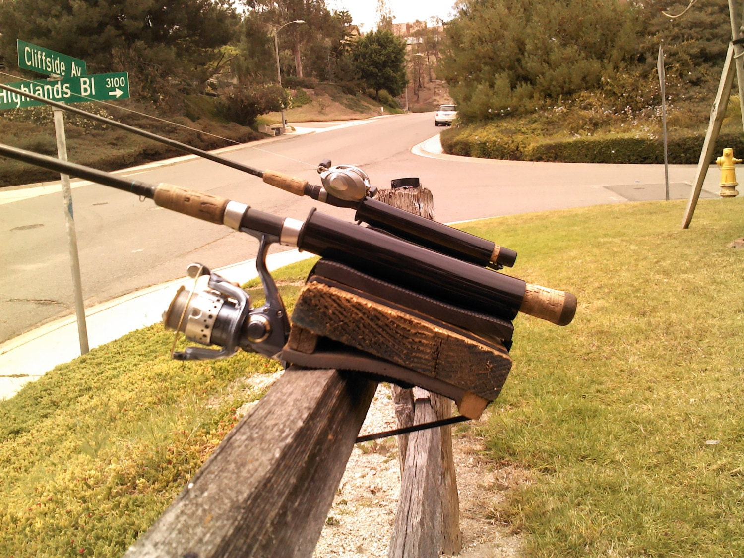 Pier fishing rod holder by kimsrodholders on etsy for Best pier fishing rod