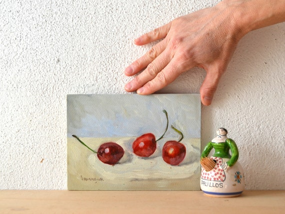 Items similar to cherries still life oil painting spring for Italian kitchen gifts
